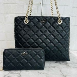 Kate Spade Natalia Quilted Smooth Leather Tote Shoulder Bag & Wallet